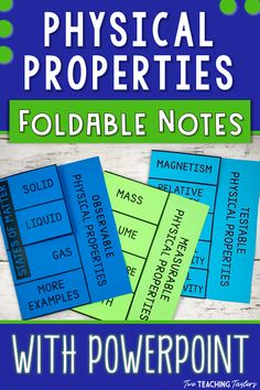 Physical Properties of Matter Vocabulary Foldables with PowerPoint Elementary Science 5th Grade Science, Science Student, Elementary Science, Physical Science, Teaching Science, Science Education, Science Activities, Science Resources, Science Experiments