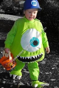 Homemade Mike Wazowski Unique Boy's Halloween Costume Idea: My 3 year old son fell in love with Monster Inc. at the end of the summer and decided that he wanted to be Mike Wazowski for Halloween. I looked around