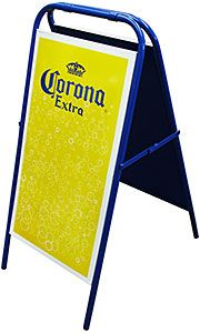 "Place this eye-catching Corona Extra ""A"" frame sign outside your bar or restaurant to attract more customers to what awaits them within!  Features include the Corona Extra logo and a full-coverage dry erase board on both sides to easily change your daily specials.  Stainless steel construction with a weather-proof enamel finish.  This attractive sign also folds flat for easy storage when not in use."
