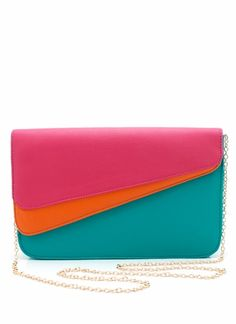 This vegan leather clutch is a fan favorite because of its sleek and vaguely futuristic shape.