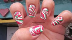 christmas nail art - fun red, green, and white marble nail art!