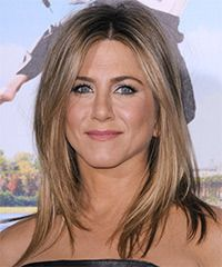 Jennifer Aniston Hairstyle: Casual Medium Straight Hairstyle  Casual and low-fuss is the main idea for this look. Only long and subtle layers are cut around the front and sides of this medium length mane to lighten the edge and allow texture which is great to frame a round face shape. This look can be easily re-created at home with a blow-wave and product for hold and shine.