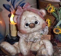 "Primitive Raggedy Ann 5"" Doll Teddy Bear Antique Flower Vtg Patti's Ratties OOAK"