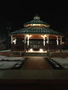 Comforting lights of a gazebo in a snow covered Ebensburg, Pa