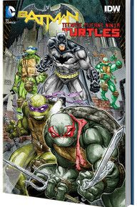 The sold-out, smash-hit 6-issue miniseries co-published with IDW is collected in hardcover. It all starts in Gotham City, as a series of deadly raids leads Batman to believe he is up against a group of highly trained ninjas. Somehow, the Foot Clan has crossed over to another dimension—but they haven't come alone: Leonardo, Raphael, Donatello and Michelangelo are on their trail!
