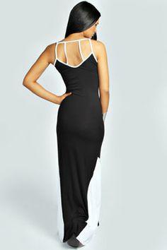 Kimberly Strappy Back Colour Black Hem Maxi Dress at boohoo.com