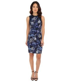 Adrianna Papell Printed Sheath with Knit Trim