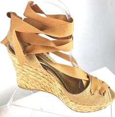 8274e390163 Details about MICHAEL KORS White Leather Open Toe Wedge Heel Ankle Tie  Sandals Size 8 B4704
