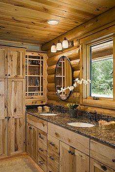 Interior, vertical, master bathroom, Minnesota, Golden Eagle Log Homes Log Cabin Bathrooms, Cabin Kitchens, Rustic Bathrooms, Log House Kitchen, Log Cabin Living, Log Cabin Homes, Log Cabins, Rustic Cabins, Log Home Interiors
