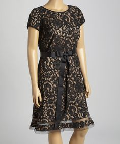 Another great find on #zulily! Black & Butterscotch Lace Overlay Dress - Plus by SL Fashions #zulilyfinds