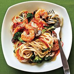 Creamy Linguine with Shrimp and Veggies Recipe from Cooking Light - (I make it with whole wheat pasta).