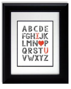 Modern Room Wall Decor Print Custom Unique Gift for Her ABC I Love You Kids Room Alphabet Poster Typography Print Boys Girls Wall Decor on Etsy, $15.00
