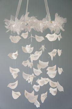 Bird Mobile for Baby Nursery Décor Winter by LoveBugLullabies