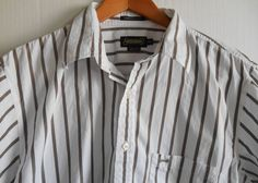 Driza-Bone Mens Shirt  XXL 2XLTapered Fit Short Sleeved White with Brown Stripes #DrizaBone #ButtonFront