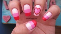 Color block Valentine's Day nails!  Colors used:   China Glaze - Go Go Pink  Sally Hansen X-treme Wear - Bubblegum Pink  Zoya - America
