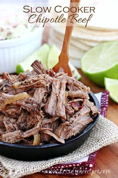 Slow Cooker Chipotle Beef Recipe | This tender beef is so easy and so flavorful! Great in tacos and burritos!