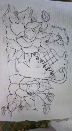 Flowers n drawings Sketchbook Drawings, Pencil Drawings, Hand Embroidery, Machine Embroidery, Coloring Books, Coloring Pages, Basic Painting, Rose Applique, Outline Drawings