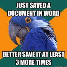 "Especially when it's an important school assignment. ""Paranoid Parrot"""
