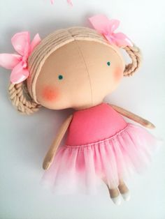 Birthday girl Ballerina doll Pink dress Rag by HandmadeToyStore