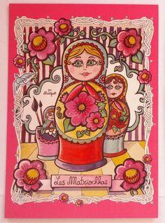 """""""Impressions manuelles, Carte """"Les Matriochkas"""" (15x10,5cm) est une création orginale de Misst1guett sur DaWanda"""