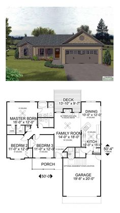Ranch Style COOL House Plan ID: chp-17802 | Total Living Area: 1381 sq. ft., 3 bedrooms and 2 bathrooms. Beyond the front porch and through the entry is the family room with a 12' high ceiling. Its focal point is a fireplace with a TV niche above. To the right is the dining room and kitchen. The angled breakfast bar is open to both the family and dining rooms. #ranchhome