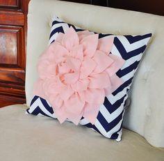 Light Pink Dahlia on Navy and White Zigzag Pillow -Chevron Pillow-