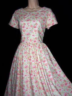 LAURA ASHLEY VINTAGE SOFT PASTELS SINGLE FLOWER SUMMER 40s STYLE TEA DRESS 12UK