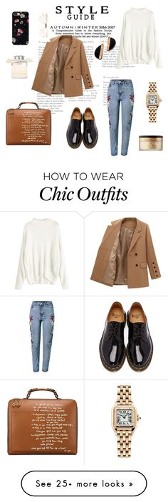 """""""Simply autumnal office look """" by maridol on Polyvore featuring WithChic, Dr. Martens, Tory Burch, Cartier, Chloé, Too Faced Cosmetics and Gucci"""