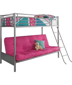 buy metal bunk bed frame with futon   fuchsia at argos co uk   ravens contemporary twin over futon bunk bed   bunk beds  u0026 loft      rh   pinterest