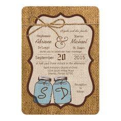 5x7 Mason Jar Burlap Country Wedding Invitation