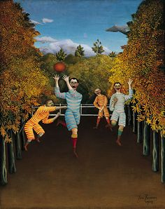 The Football Players by Henri Rousseau, Guggenheim Museum Size: cm Medium: Oil on canvas Solomon R. Guggenheim Museum, New York Henri Rousseau Paintings, Illustration Arte, Classic Paintings, Post Impressionism, Naive Art, Art Plastique, Football Players, Rugby Players, Van Gogh