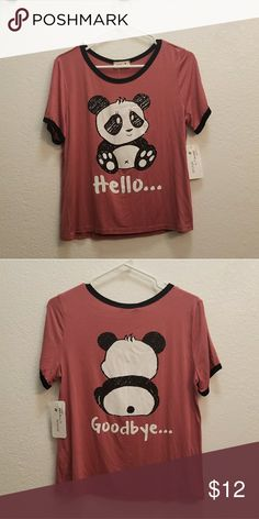 "Panda T-Shirt Panda t-shirt ""Hello"" front ""Goodbye"" back. Brand new never used. Tops Crop Tops"