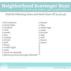 FREE Download: Neighborhood Scavenger Hunt List for Kids
