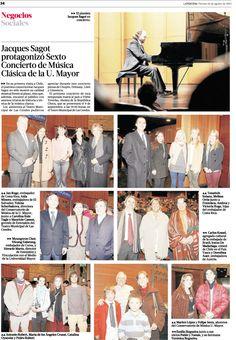 Jacques Sagot protagonizó Sexto Concierto de Música Clásica de la #UMayor (La Tercera 16 agosto 2013) #conservatorio #jacquessagot #música