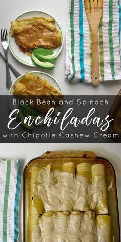 Instead of store-bought vegan cheese, you top these vegan enchiladas with smoky, spicy, homemade cashew cream.