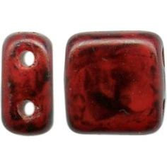 CzechMates Czech Glass Bead, 2-Hole Tile, 6mm - Red - Black Picasso