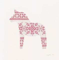 cross stitch patterned dala horse for the Swedes Xmas Cross Stitch, Cross Stitch Charts, Cross Stitching, Cross Stitch Patterns, Christmas Embroidery, Diy Embroidery, Cross Stitch Embroidery, Embroidery Patterns, Swedish Embroidery