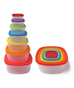 Another great find on #zulily! 14-Piece Fiesta Square Plastic Container Set by Micro World #zulilyfinds
