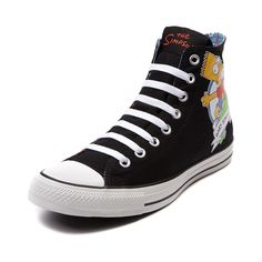 Shop for Converse All Star Hi Bart Sneaker, MULTI, at Journeys Shoes. Dont have a cow over the new Converse All Star Hi Bart Sneaker! Featuring classic scenes from the longest running scripted show in television history, the Converse Bart Sneaker boasts a canvas upper, with lace front closure, rubber toe cap, contrasting Bart Simpson themed canvas lining, and vulcanized rubber outsole for traction and flexibility.Please note that this shoe runs a half size large.