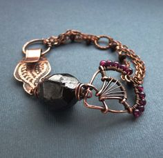Rough garnet bead bracelet with wire wrapped and by ViolinDesign