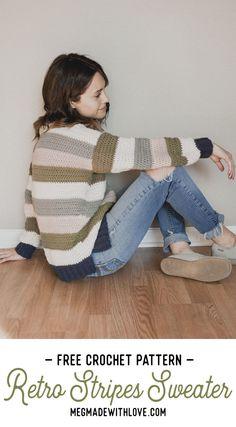 Free Crochet Pattern - Retro Stripes Sweater - Megmade with Love Knitting TechniquesCrochet For BeginnersCrochet PatternsCrochet Amigurumi Cute Crochet, Easy Crochet, Knit Crochet, Crochet Tops, Tsumtsum, Crochet Cardigan, Crochet Sweaters, Crochet Shawl, Crochet Edgings