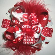Valentine's Day Hairbows, Hair bows, Chevron-Red Valentine Day Boutique Hair Bow Clip-Funky Fun-Over The Top Hair Bow Deluxe-Funky Loopy on Etsy, $9.99