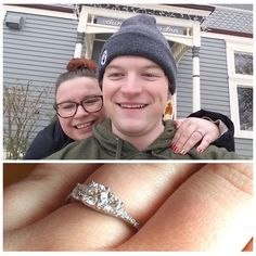 Congratulations to Matthew and Nikki on their engagement! Matthew proposed with a gorgeous three stone engagement ring from our exclusive Atia Collection! Three Stone Engagement Rings, Three Stone Rings, Wedding Day, Wedding Rings, 2 Carat, Round Diamonds, Third, Congratulations, White Gold