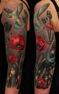 Hummingbird, butterfly, and poppy arm tattoo - 60 Awesome Arm Tattoo Designs  <3 <3