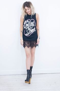 Part of a killer new collection of reworked band tees, made exclusively for Little Lies. Our Rolling Stones tee has some seriously luxe black lace trim.