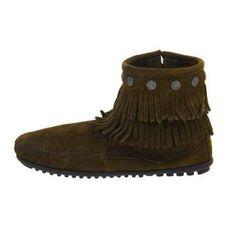 Minnetonka Womens Hi Top Back Zip Double Fringe Moccasin Boot Shoe, Evergreen, 6