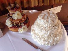 Naked Victoria sponge wedding cake and red velvet rose cake made for my sisters wedding (August 2014, uk)