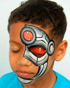 A cool design inspired by the talent… – Super cyborg! A cool design inspired by the talent… – Superhero Face Painting, Face Painting For Boys, Face Painting Designs, Paint Designs, Painting Tutorials, Halloween Make Up, Halloween Face, Night Portrait, Boy Face