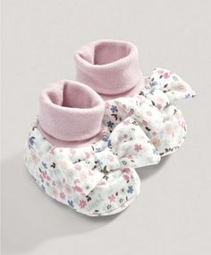 Girls Floral Bow Booties - New Arrivals - Mamas & Papas Cute Baby Shoes, Baby Girl Shoes, Cute Baby Clothes, My Baby Girl, Cute Outfits For Kids, Toddler Girl Outfits, Boy Outfits, Toddler Fashion, Toddler Girls