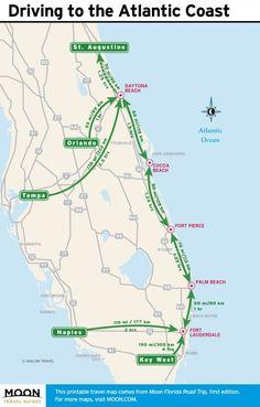 Map of the Atlantic Coast through Northern Florida. | Florida A1A ...